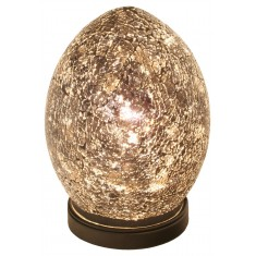Black Medium Mosaic Egg Shaped Glass Lamp