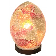 Red Medium Mosaic Egg Shaped Glass Lamp