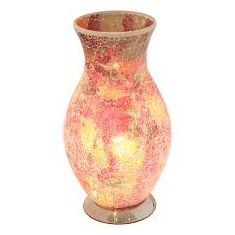 Classic Vase Mosaic Glass Electric Lamp - Red / Orange