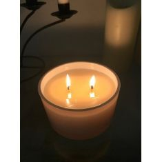 Naked Flame Candles Large 2 Wick glass Candle - White