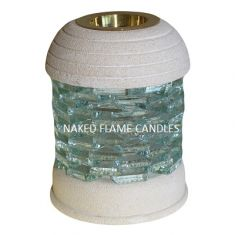 Stone Wax Melt / Oil Burner - Round Glass Brick