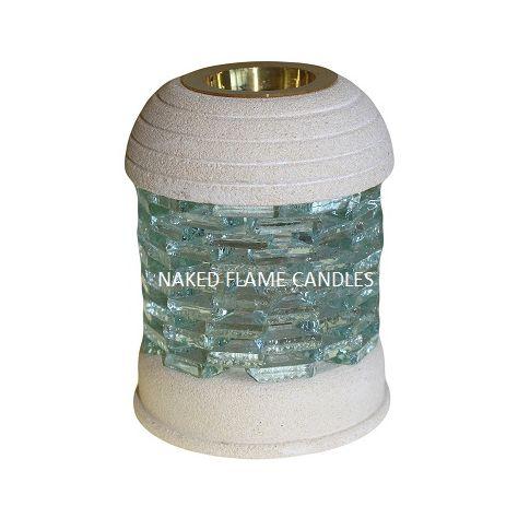 Stone Wax Melt / Oil Burner - Round Glass Brick
