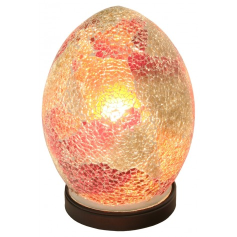 Red Medium Mosaic Glass Electric Lamp