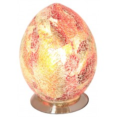Red Mini Mosaic Egg Shaped Glass Lamp