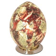 Amber Mini Mosaic Egg Shaped Glass Lamp