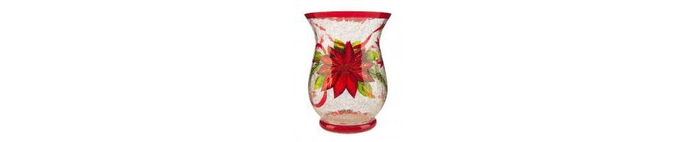 Poinsettia Crackle Glass